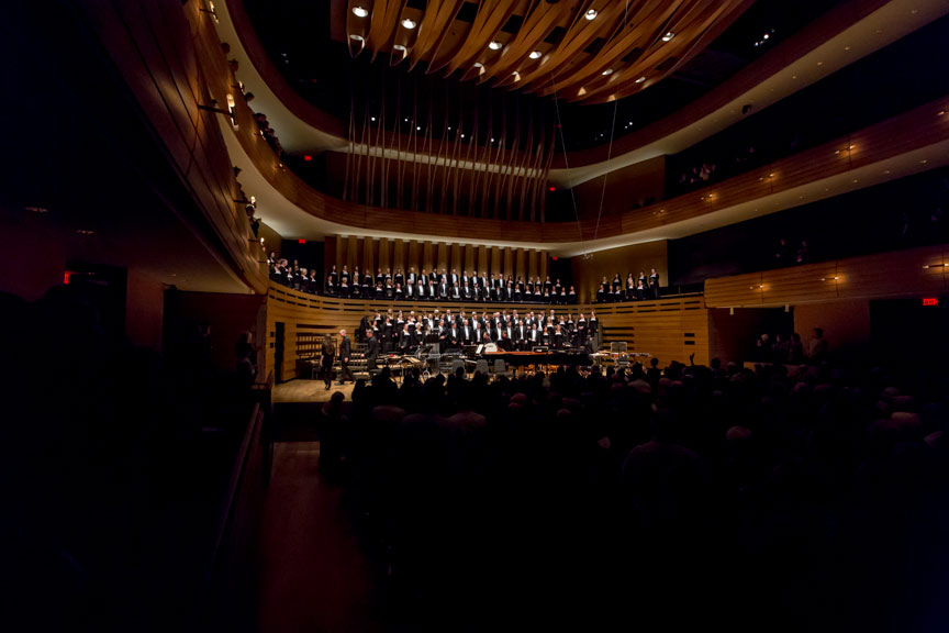 TMC performing at Koerner Hall, viewed from the back of the audience