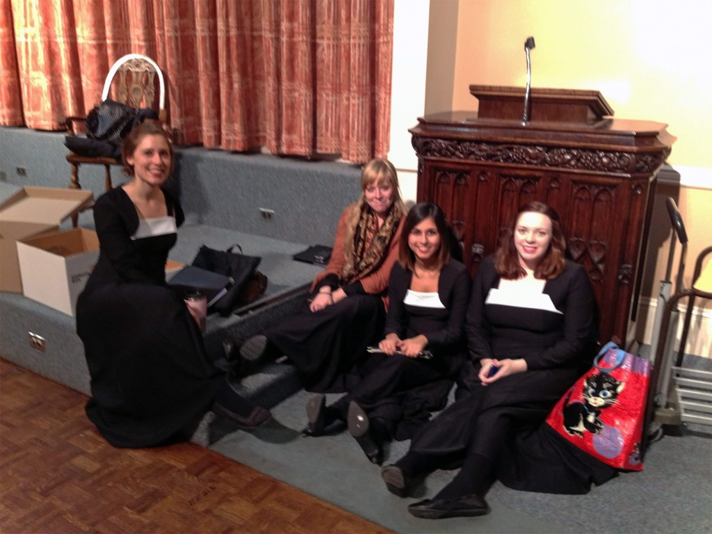 Four young apprentice choristers relaxing in Cameron Hall.
