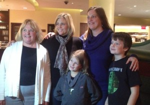 Three generations of descendents of Frederick Silvester: Dianne Grey (left), her daughter, her niece Adrienne Eastwood, and Adrienne's children