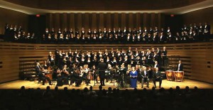 The TMC, orchestra, and soloists onstage at Koerner Hall