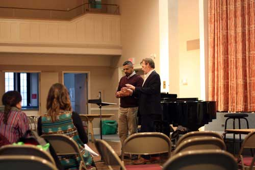 Dan Rutzen and Noel Edison in rehearasl with the Elora Festival Singers