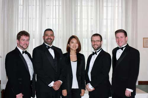 The 2016 Conductors' Symposium participants: Jordan Van Biert, Daniel Rutzen, Hanna Cho, Stephen Frketic, and Joshua Harper