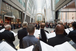 Noel Edison conducting the TMC at Brookfield Place